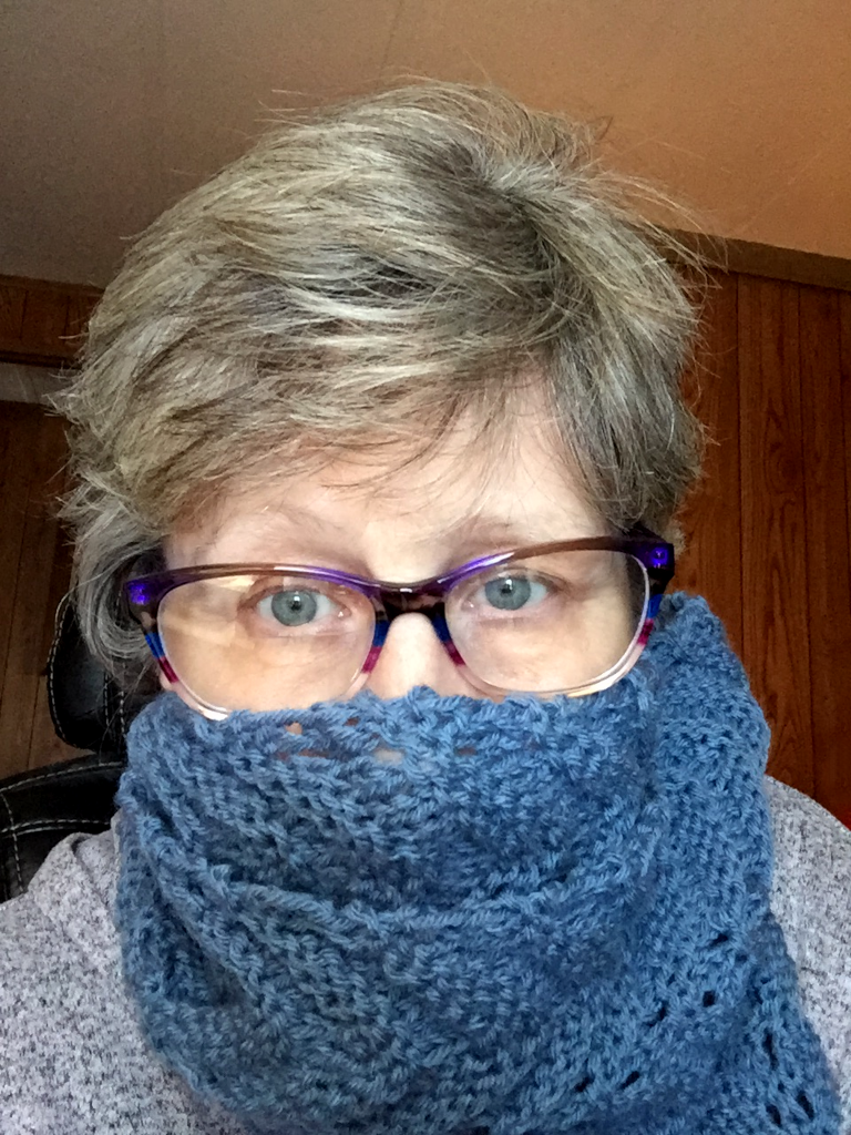 Picture of Pat with glasses and a royal blue hand knit scarf wrapped around her face. The scarf was a present!